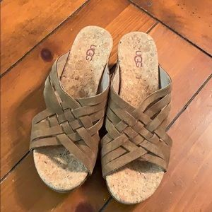 Like new UGG cork suede wedge sandal